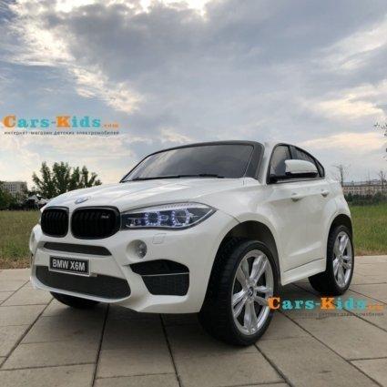 Детский электромобиль BMW X6M White 12V - JJ2168 (2х местный, колеса резина, кресло кожа, пульт, музыка)